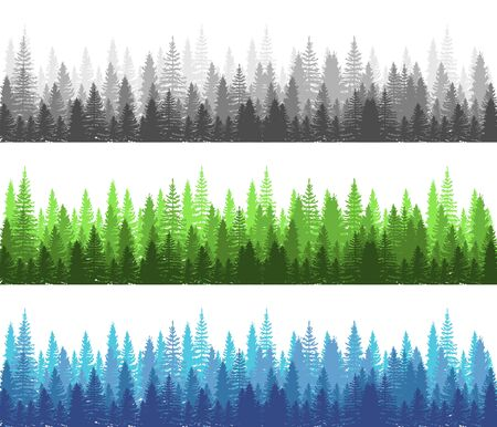 Forest different season Summer, Winter and Dark Forest collection. Pine, Spruce and Christmas Tree Panorama view Forest. Silhouette Trees. Vector illustration
