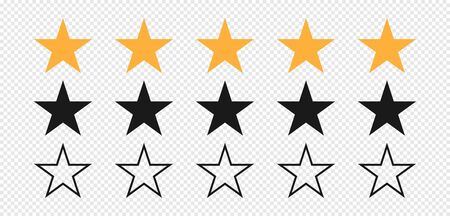Star. Stars rating. Set of five stars yellow and black color. Quality symbol. Feedback concept. Linear design. Stars vector icons isolated on transparent background. Vector illustration Foto de archivo - 138253933