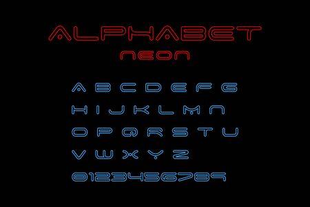 Alphabet Neon Font, isolated on black background. Alphabet Neon Font red and blue color. Modern design. Glowing alphabet font. Set of abc in neon design. Vector illustration Ilustração