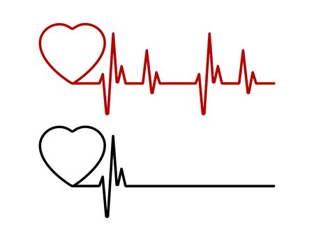 Heart beat line red and black. Red heartbeat line of life and black heartbeat line of death. Red and black heart with palpitation. Vector illustration.