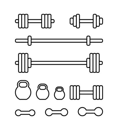Set of sports equipment for gym. Barbell, kettlebell, barbell bar and dumbbell in linear style isolated on white background. Barbell icons set for web design. Sports equipment in a modern simple flat design. Vector illustration.