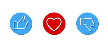 Like, Heart and Dislike vector set icons. Like, dislike and heart button, isolated on white background. Thumb up and thumb down icons. Vector illustration. Ilustração