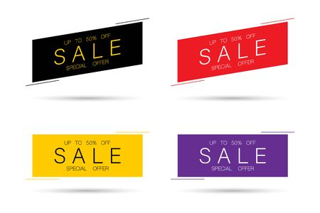 Sale, banners collection. Sale special offer. Up to fifty off. Sale banners vector illustration.