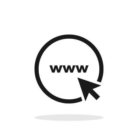 Www. Icon go to web. Website Icon. Www icon with hand cursor or arrow in simple flat design. Icon go to web, isolated on white background. Vector illustration.