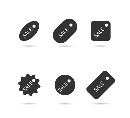 Sale, price tag collection. Sale special offer. Up to fifty off. Sale vector icons, isolated on white background. Vector illustration.