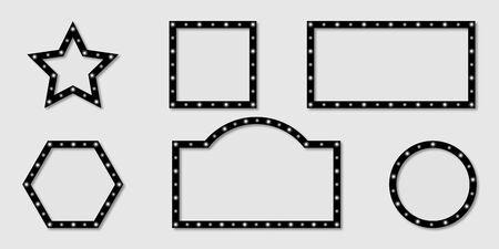 Shining frames billboard collection. White light on frames billboard different shapes with shadow. Retro light signs. Shining banners black color. Vector illustration. Ilustração