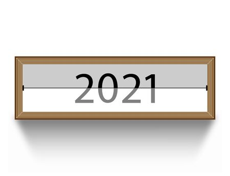 Wood frame with screensaver 2021. Isolated vector illustration with shadow. Ilustração