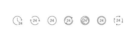 Time icons. 24h collection icons, isolated on white background. Watch, Clock 24h in a row. Panorama view. Vector illustration.
