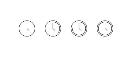 Time icons. Watch, clock 24h in a row. Time icons in flat linear design, isolated on white background. Panorama view. Vector illustration.