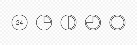 24h vector icons. Time icons collection. Watch, clock in flat linear design, isolated on transparent background. Vector illustration. Ilustração