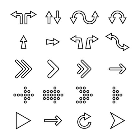 Arrows icons collection. Arrow icons, isolated on white background. Cursors in flat linear design. Cursor different shapes. Arrows. Vector illustration. Ilustração