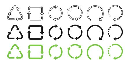 Recycle symbol collection. Recycled flat and linear design. Recycle black and green vector icons in a row, isolated on white background. Set of recycle vector icons. Vector illustration.