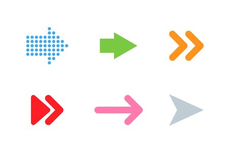 Arrows colorful icons. Arrow. Arrow icons, isolated on white background. Cursors different color in flat style. Panorama view. Cursor vector icon. Vector illustration.