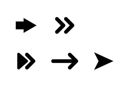 Arrows black vector icons. Arrow. Cursor icons. Set of Arrows different shapes, isolated on white background. Arrows in a row in modern simple flat design. Vector iilustration.