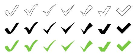 Check Mark collection. Check Mark black and green vector icons, isolated on white background. Set of Check Mark vector icons in flat and linear design in a row. Vector illustration.