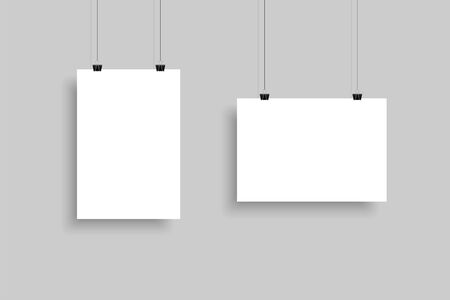White Paper sheet horizontally and vertically. Template Mockup Paper sheet with shadow, isolated on gray background. Realistic blank a4 format paper. Vector illustration.