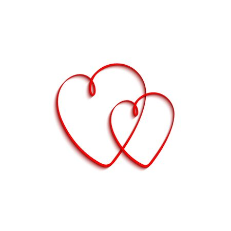 Two hearts. Red hearts with shadow, isolated on white background. Heart vector icon. Love concept. Valentines day. Vector illustration.