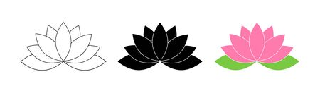 Lotus flowers. Lotus in flat deisgn, isolated on white background. Lotus Flower Logo. Flowers Harmony icons. Vector illustration. Ilustração