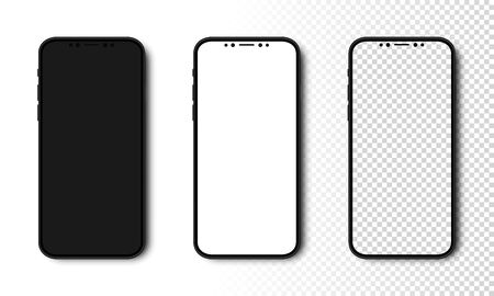 Smartphone mockup. Phone with Black, White and Transparent Screen. Cell Phone with different Screens. Template mockup smartphone in realistic design. Vector illustration. Ilustração