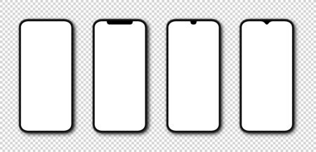 Phone with White Screen. Smartphone mockup. Cell Phone with white Screen. Template mockup smartphone in realistic design. Vector illustration.