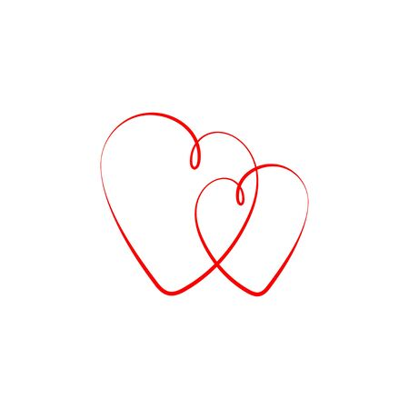 Hearts  vector icons. Red heart, isolated on white background. Love icon. Two Hearts in modern flat design. Vector illustration.