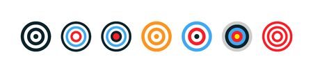 Target collection. Target vector icons, isolated on white background. Targets different shapes and color. Archery target business concept. Vector illustration.
