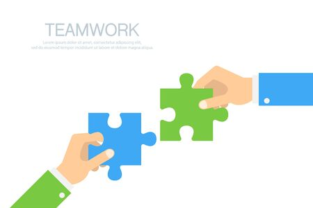 Hands connecting puzzle elements. Two hands businessman with jigsaw puzzle. Teamwork. Business concept. Vector illustration.