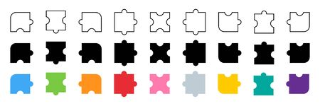 Puzzle collection. Puzzle pieces different color and design. Puzzle jigsaw, isolated on white background in flat, web and linear design. Vector illustration.