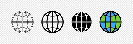 Earth globes in web design. Earth globe in modern simple flat design, isolated on transparent background. World maps in a row, web icons. Simple globe icons. Vector illustration.