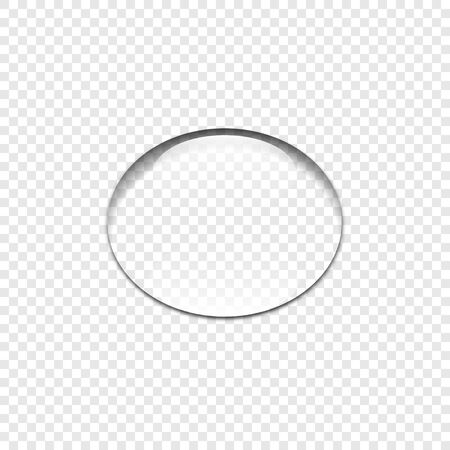Realistic transparent Water drop, isolated. Clear water drop on transparent background. Drop water with shadow. Vector illustration. Ilustração