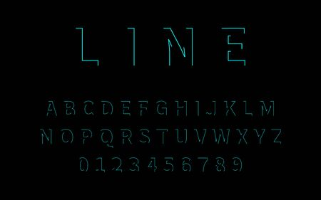 Line Font. Alphabet in latin. Font alphabet with letters and numbers in linear design. Neon design. Vector illustration.