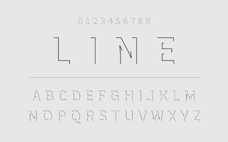Line Font. Alphabet in latin. Font alphabet with letters and numbers in linear design. Vector illustration.