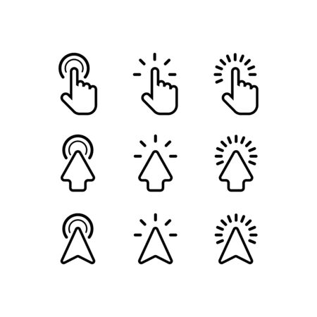 Cursor arrows and computer mouses with clicking. Cursor icons. Arrows click vector icons. Mouse click cursor collection. Concept clicking. Pointer cursor mouse. Vector illustration.