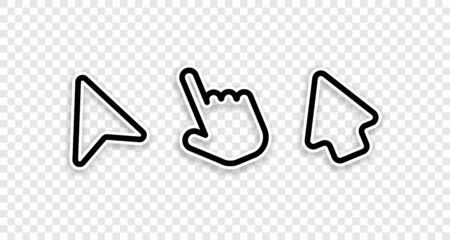 Click cursor collection. Cursor arrows and computer mouses with hand. Cursor icons. Arrows click vector icons. Mouse click cursor collection. Concept clicking. Pointer mouse. Vector illustration.