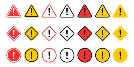 Caution signs collection. Symbols danger. Exclamation mark icon. Caution and warning signs, isolated on white background.