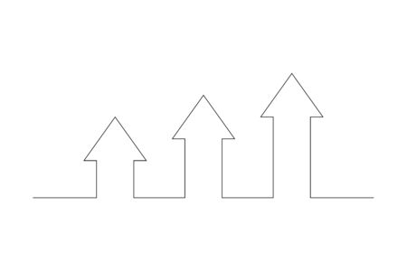 Continuous Line of three Arrows. Arrows up, isolated on white background. Continuous Arrows of  thin line. Business concept. Vector illustration.