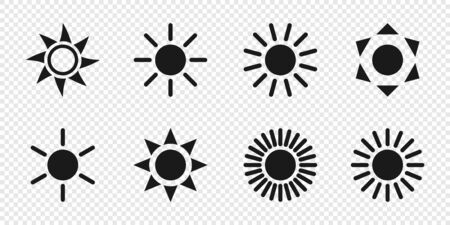 Sun collection. Sun vector icons, isolated on transparent background. Sun black icons different shapes in modern simple flat design. Vector illustration. Ilustração