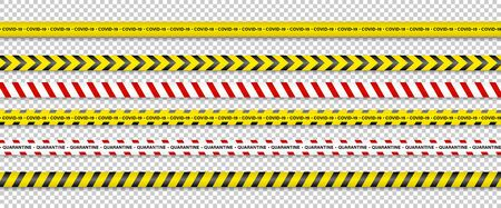 Warning Stripes. Coronavirus warning stripes. Covid-19 signs. Quarantine biohazard symbol. Warning Stripes collection black, red and yellow color, isolated on transparent background. Vector illustration.