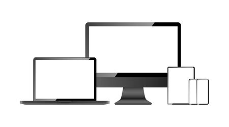 Devices screen mockup collection. Computer screen, laptop, tablet and mobile phone, isolated on white background. Devices with blank screen in realistic design. Vector illustration.
