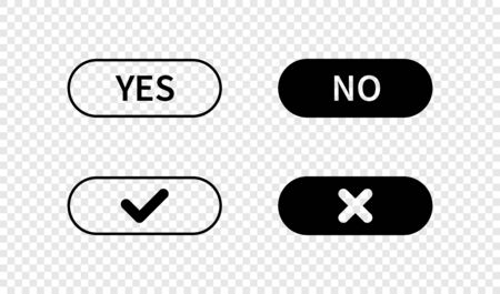Check mark buttons. Tick and cross buttons. Yes no button. Check mark icons in flat style, isolated for web design. Vector illustration. Ilustração