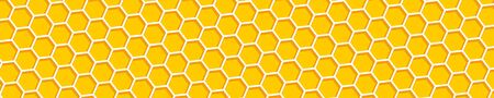 Honeycomb background. Beehive, panorama view. Abstract honeycomb background. Honeycomb yellow and orange color. Hexagons collection in the form of bee hive. Vector illustration.