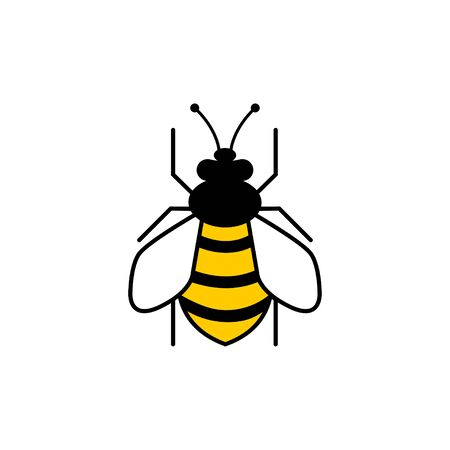 Bee flat icon. Bee, isolated on white background. Bee icon in modern flat design. Vector illustration.
