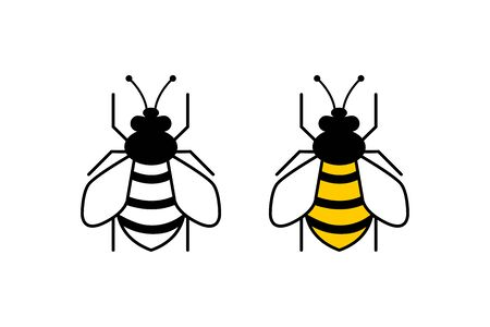 Bee flat and web icons. Bees, isolated on white background. Bee icon in modern flat design. Vector illustration.