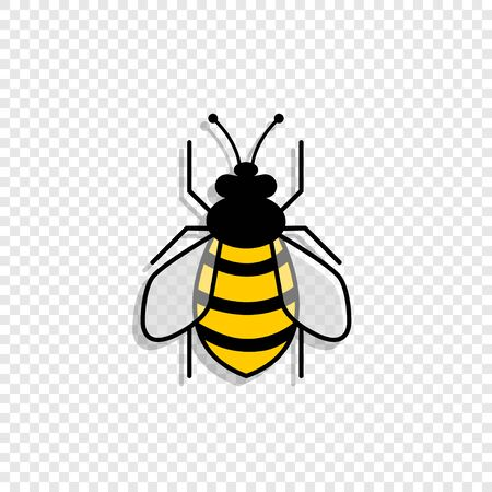 Bee with shadow, isolated on transparent background. Bee in different styles. Bee. Vector illustration.