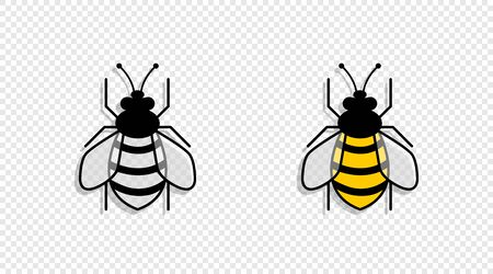 Two Bee with shadow, isolated on transparent background. Bee in different styles. Bee. Vector illustration.