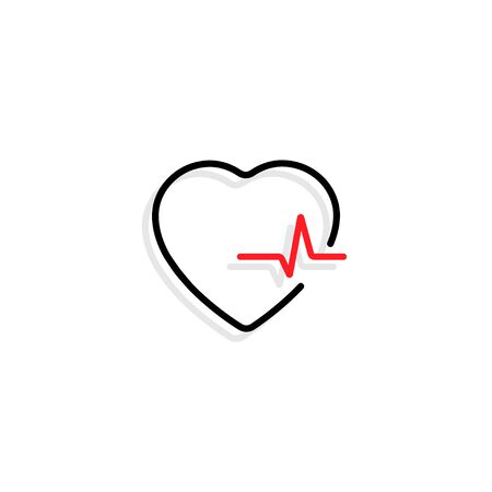 Heart with heartbeat. Black heart with red heartbeat and shadow in flat design, isolated on white background. Heart and heart beat vector icon. Vector illustration.