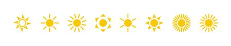 Sun collection. Sun vector icons, isolated on white background. Sun yellow icons different shapes in modern simple flat design. Vector illustration. Ilustração