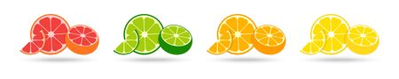 Citrus collection. Set of fresh fruit in flat design. Grapefruit, lime, orange and lemon, isolated on white background. Fresh citrus fruits with shadow. Vector illustration.