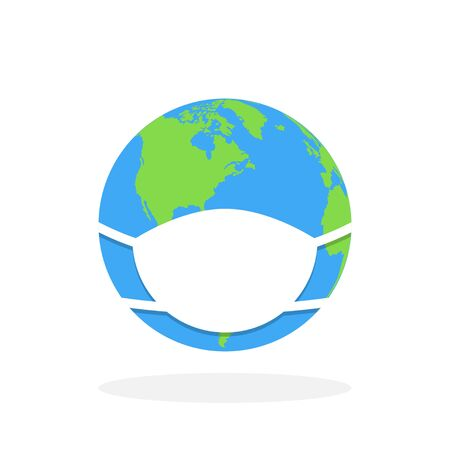 Coronavirus Protection for earth. Mask for Earth. Hygiena concept. Clear and protection earth. Vector illustration.