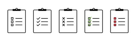 Clipboard with checklist collection. Check mark with cross on check list. Clipboard in web design. Clipboard vector icons. Checklist with check marks and crosses. Eps10